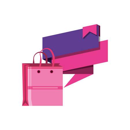 shopping bag with speech bubble vector illustration design Иллюстрация