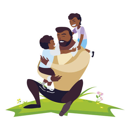 afro father with sons characters in the field vector illustration design Иллюстрация