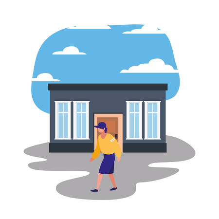man standing in front of house street vector illustration Stock Illustratie