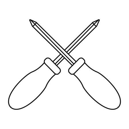 crossed screwdrivers tool vector illustration design image Stock Illustratie