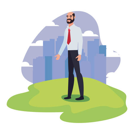 businessman with briefcase standing city background vector illustration Stock Illustratie