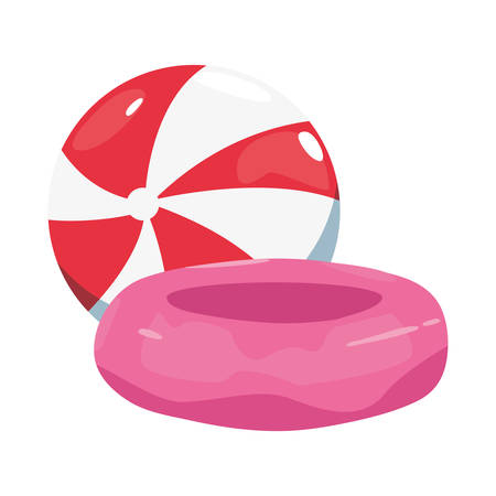 summer time holiday beach ball and float vector illustration
