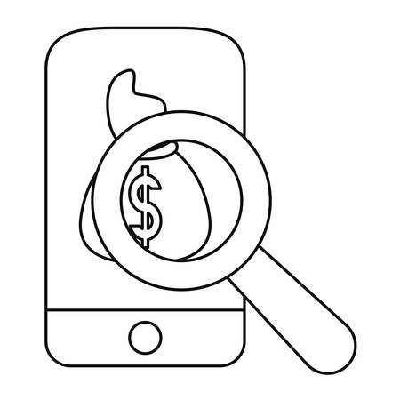 cellphone money bag magnifier application vector illustration