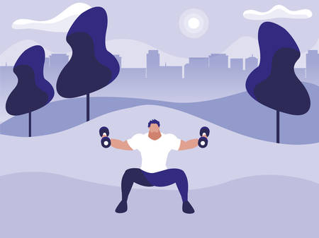athletic man weight lifting in the park vector illustration design Stock Illustratie