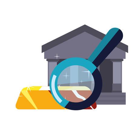 business bank loupe gold bar vector illustration