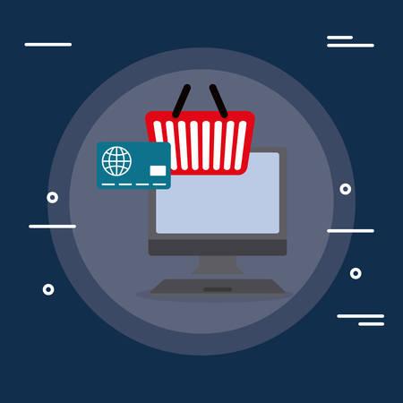 desktop computer with credit card and shopping basket vector illustration design