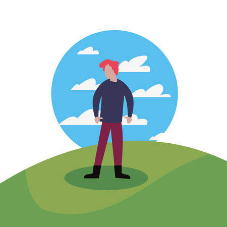 man standing in the landscape vector illustration Ilustracja