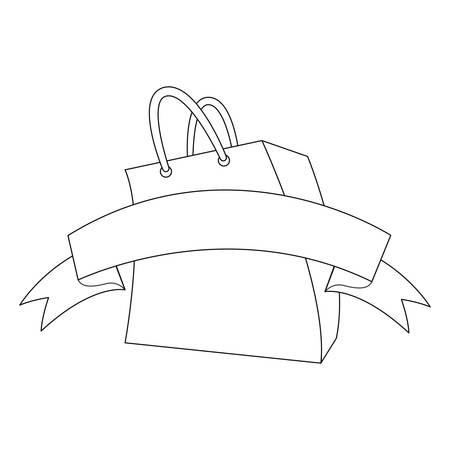 shopping paper bag with ribbon vector illustration