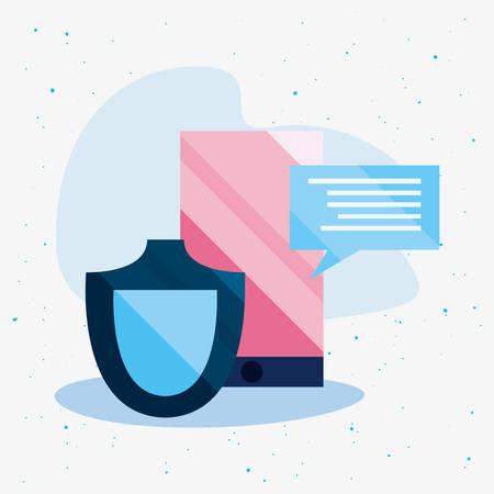 smartphone shield chat message cybersecurity data protection vector illustration Illusztráció