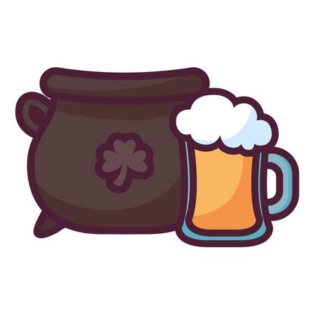 st patricks day card with cauldron and beer jar vector illustration design