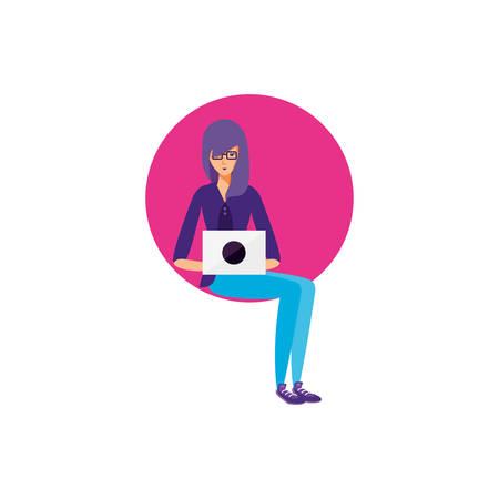 young woman using laptop computer vector illustration design Çizim