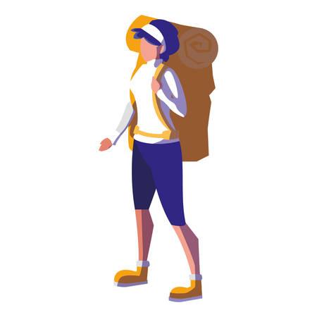adventurous woman with travelbag vector illustration design