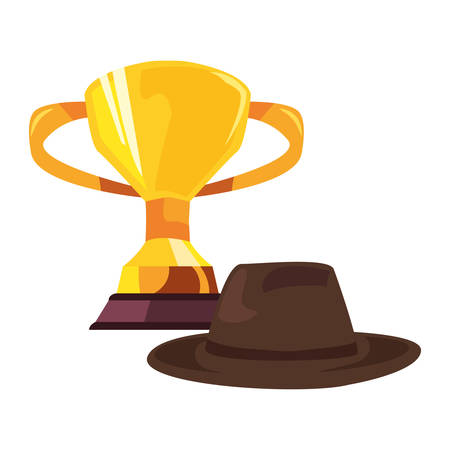 award trophy hat happy fathers day vector illustration 일러스트