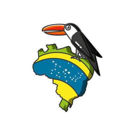 map of brazil with toucan animal vector illustration design