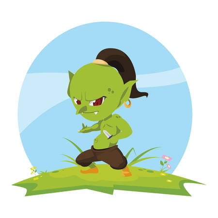 ugly troll in the camp magic character vector illustration design Çizim