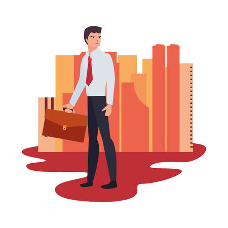 businessman standing city street background vector illustration Foto de archivo - 129253707