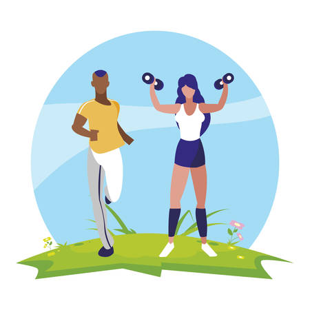 athletic afro man running and woman weight lifting in camp vector illustration