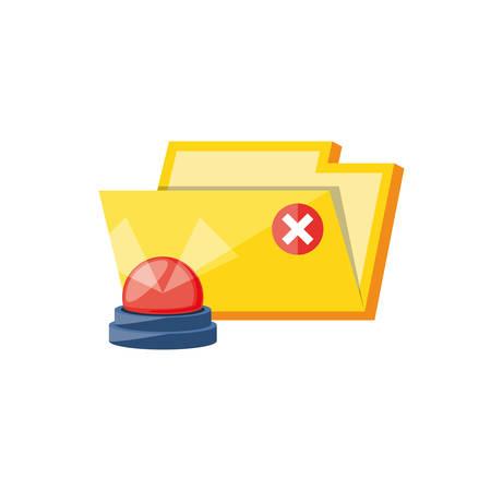 folder document with alarm light emergency vector illustration design