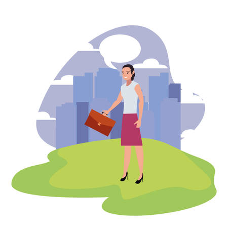 businesswoman with briefcase standing city background vector illustration