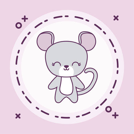 cute mouse animal with frame circular vector illustration design