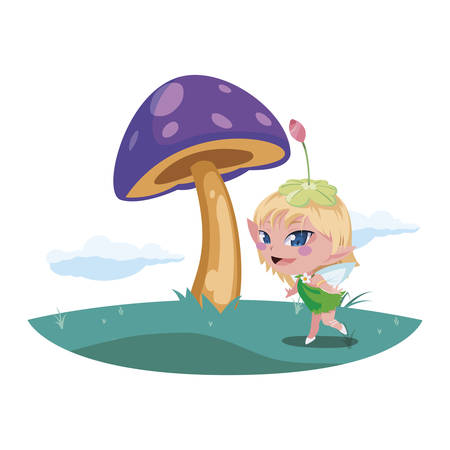 beautiful magic fairy in the camp vector illustration design Çizim