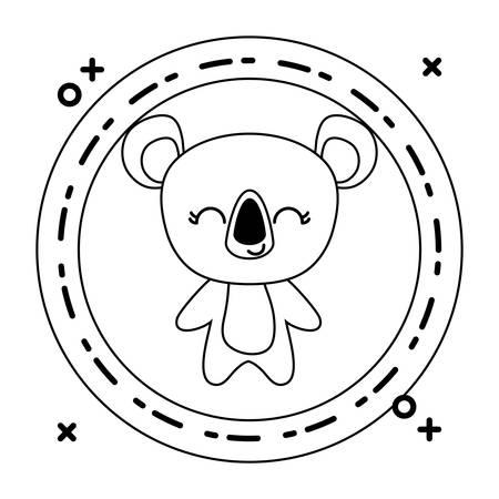 cute koala animal with frame circular vector illustration design Ilustracja