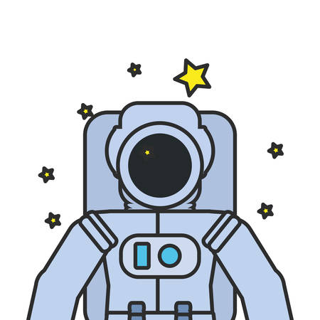 astronaut suit with set of stars isolated icon vector illustration design