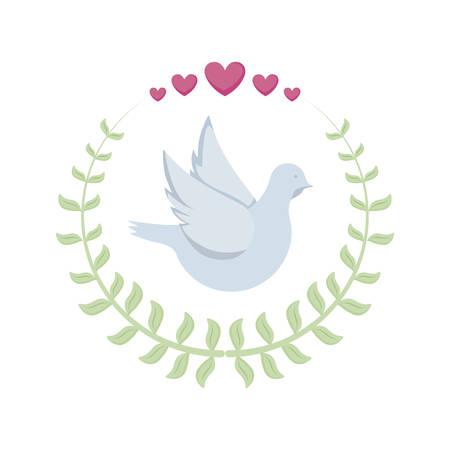 cute dove in crown of leafs icon vector illustration design Ilustracja