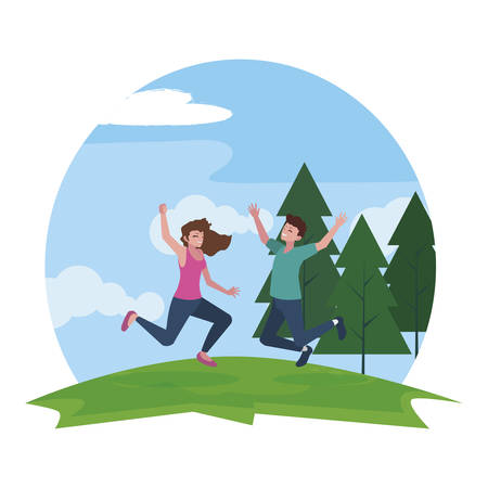 happy young couple celebrating in the camp vector illustration design Ilustrace