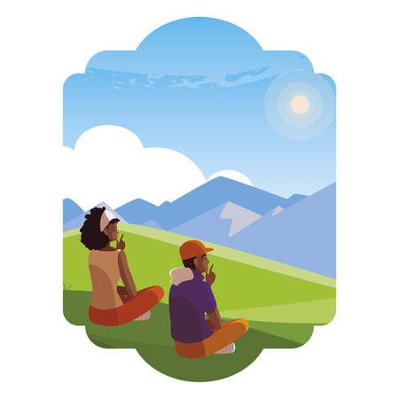 afro couple contemplating the horizon in the field scene vector illustration design