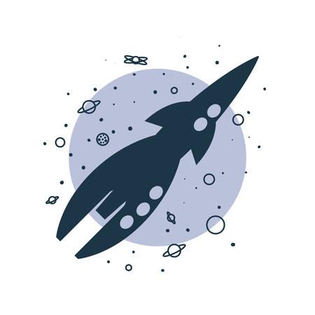 rocket spaceship cosmos planets cartoon vector illustration Ilustração