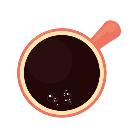 top view coffee cup icon on white background vector illustration