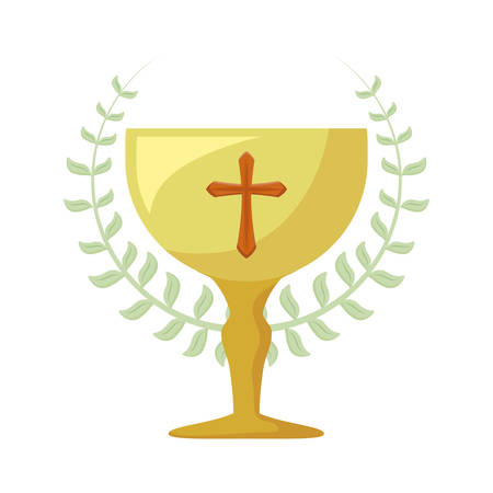 chalice sacred and crown of leaves vector illustration design Stockfoto - 129253984