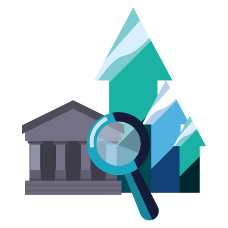 bank saving magnifier chart arrows vector illustration Ilustrace