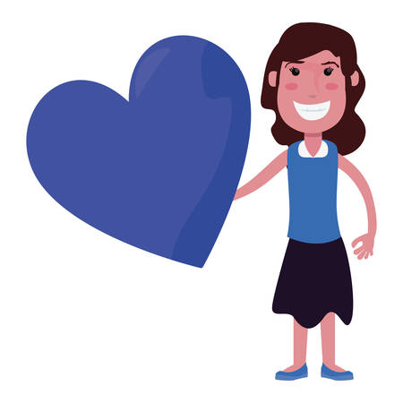 happy girl with heart on white background vector illustration