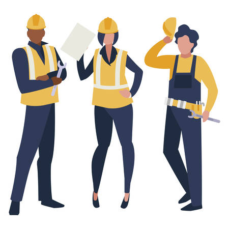 group of builders working vector illustration design