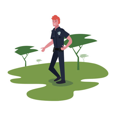 policeman in the park trees nature vector illustration