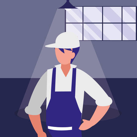 mechanic worker in the workshop place vector illustration design Stock Illustratie