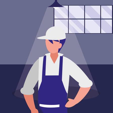 mechanic worker in the workshop place vector illustration design Foto de archivo - 129254123