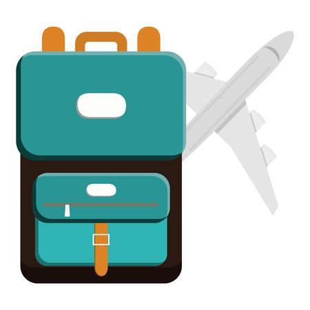 suitcase travel with airplane flying vector illustration design Ilustração