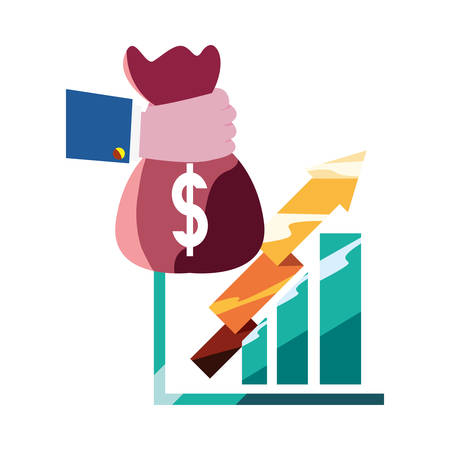 hand with money bag chart report vector illustration
