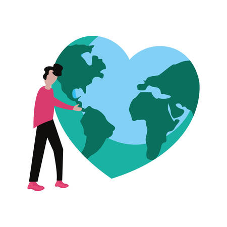man with planet world shaped heart happy earth day vector illustration