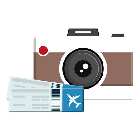 camera photographic with flight tickets vector illustration design