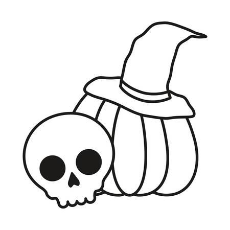 skull and halloween pumpkin over white background, vector illustration