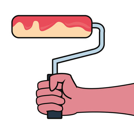 hand with painting roller construction tools vector illustration design