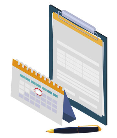 checklist clipboard with calendar vector illustration design
