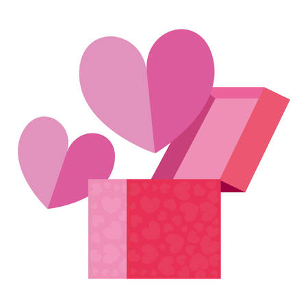 gift box love heart romantic vector illustration Stockfoto - 129254195
