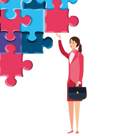 business woman with puzzle pieces vector illustration design Ilustrace