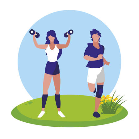 athletic man running and woman weight lifting in the camp vector illustration design 일러스트
