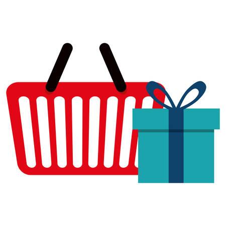 shopping basket with gift box vector illustration design